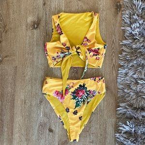 Yellow floral tie front high waist bikini